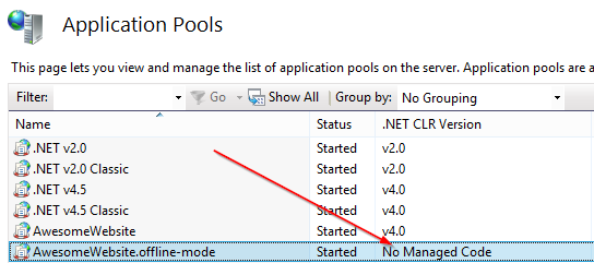 Example of a non-managed app pool in IIS