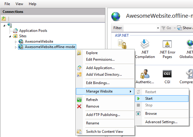 Example of starting a website in IIS